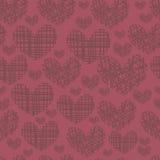 Безшовная картина с вышивкой сердец Стоковое Фото