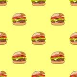 Безшовная картина с гамбургером или бургером Стоковые Фотографии RF