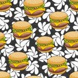 Безшовная картина с гамбургером doodle на художнической предпосылке иллюстрация вектора