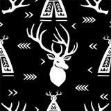 Безшовная картина с головами и вигвамами оленей Стоковое Фото