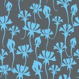 Безшовная картина с голубыми цветками на сером backgro иллюстрация вектора