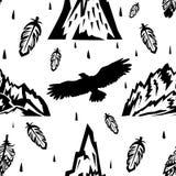 Безшовная картина с горами и орлами Стоковая Фотография