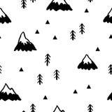 Безшовная картина с горами также вектор иллюстрации притяжки corel иллюстрация вектора