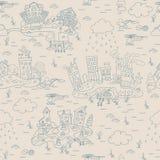 Безшовная картина с городком острова шаржа Стоковые Фотографии RF