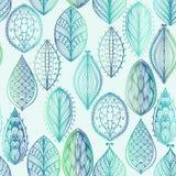 Безшовная картина с голубыми листьями иллюстрация штока