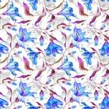 Безшовная картина с голубыми лилиями Стоковые Изображения RF