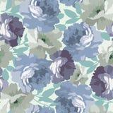 Безшовная картина с голубыми розами Стоковое Изображение RF