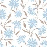 Безшовная картина с голубыми цветками и листьями бежа также вектор иллюстрации притяжки corel Стоковое Изображение RF