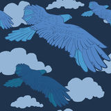 Безшовная картина с голубым орлом для ткани иллюстрация вектора
