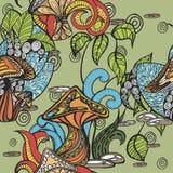 Безшовная картина с грибами и заводами иллюстрация штока