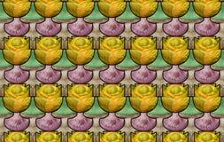 Безшовная картина с грибами и капустами Стоковое Фото