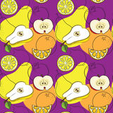 Безшовная картина с грушами, яблоками, лимонами и апельсинами Стоковые Изображения RF