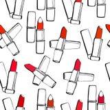 Безшовная картина с губными помадами на белизне Бесплатная Иллюстрация