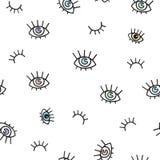 Безшовная картина с глазами на белой предпосылке Стоковое Изображение RF