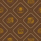 Безшовная картина с глифами майяского сочинительства Стоковое Изображение RF