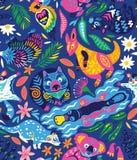 Безшовная картина с декоративными австралийскими животными в ярких цветах также вектор иллюстрации притяжки corel бесплатная иллюстрация