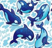 Безшовная картина с декоративными китами косатки также вектор иллюстрации притяжки corel иллюстрация вектора
