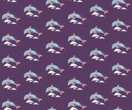 Безшовная картина с дельфинами и волнами иллюстрация штока