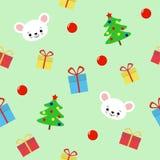 Безшовная картина с деревом hristmas, подарками и милой мышью на зеленой предпосылке - иллюстрации вектора, eps бесплатная иллюстрация