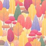 Безшовная картина с деревьями и кустами осени Стоковые Изображения RF