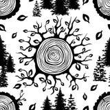Безшовная картина с деревянным разделением круга Стоковая Фотография