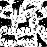 Безшовная картина с дикими животными Стоковые Изображения
