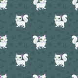 Безшовная картина с довольно белыми котами Стоковая Фотография RF