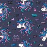 Безшовная картина с единорогами Vector предпосылка с стикерами, штырями, заплатами Иллюстрация детей для печатей дизайна Стоковое Изображение RF