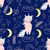 Безшовная картина с единорогом на иллюстрации вектора ночи, eps бесплатная иллюстрация