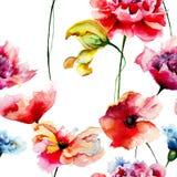Безшовная картина с декоративными цветками лета Стоковое Изображение RF
