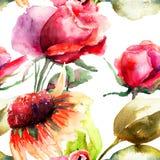 Безшовная картина с декоративными цветками роз Стоковые Изображения