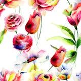 Безшовная картина с декоративными цветками Стоковая Фотография RF