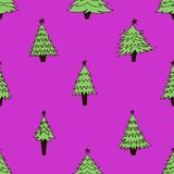 Безшовная картина с елями рождества иллюстрация штока