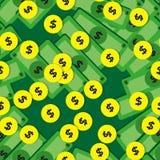 Безшовная картина с деньгами - банкноты и монетки Стоковое фото RF