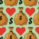 Безшовная картина с деньгами Стоковое Изображение