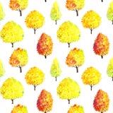 Безшовная картина с деревьями акварели стоковое изображение rf