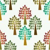Безшовная картина с деревьями, вектор Стоковая Фотография