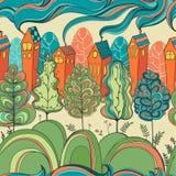 Безшовная картина с деревьями и домами Стоковое Изображение RF