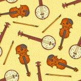Безшовная картина с деревянными скрипкой и банджо Стоковая Фотография RF
