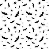 Безшовная картина с летучими мышами и спайдерами Стоковые Фото