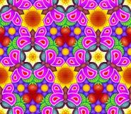 Безшовная картина сделанная цветков и бабочек Стоковое Изображение RF