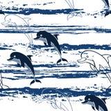 Безшовная картина с дельфинами шаржа Стоковая Фотография