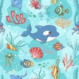 Безшовная картина с дельфин-касаткой Стоковые Фотографии RF