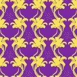 Безшовная картина с желтой лилией также вектор иллюстрации притяжки corel иллюстрация штока