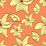 Безшовная картина с желтыми лилиями Стоковое Фото