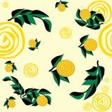 Безшовная картина с желтыми цветками и листьями бесплатная иллюстрация