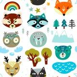Безшовная картина с животными вручает вычерченные стороны и элементы природы Иллюстрация детей иллюстрация вектора