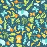 Безшовная картина с животными джунглей шаржа Стоковые Изображения RF
