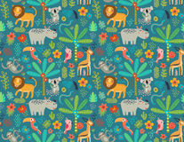 Безшовная картина с животными джунглей иллюстрация штока