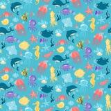 Безшовная картина с животными различного моря подводными в милом c Стоковое Изображение